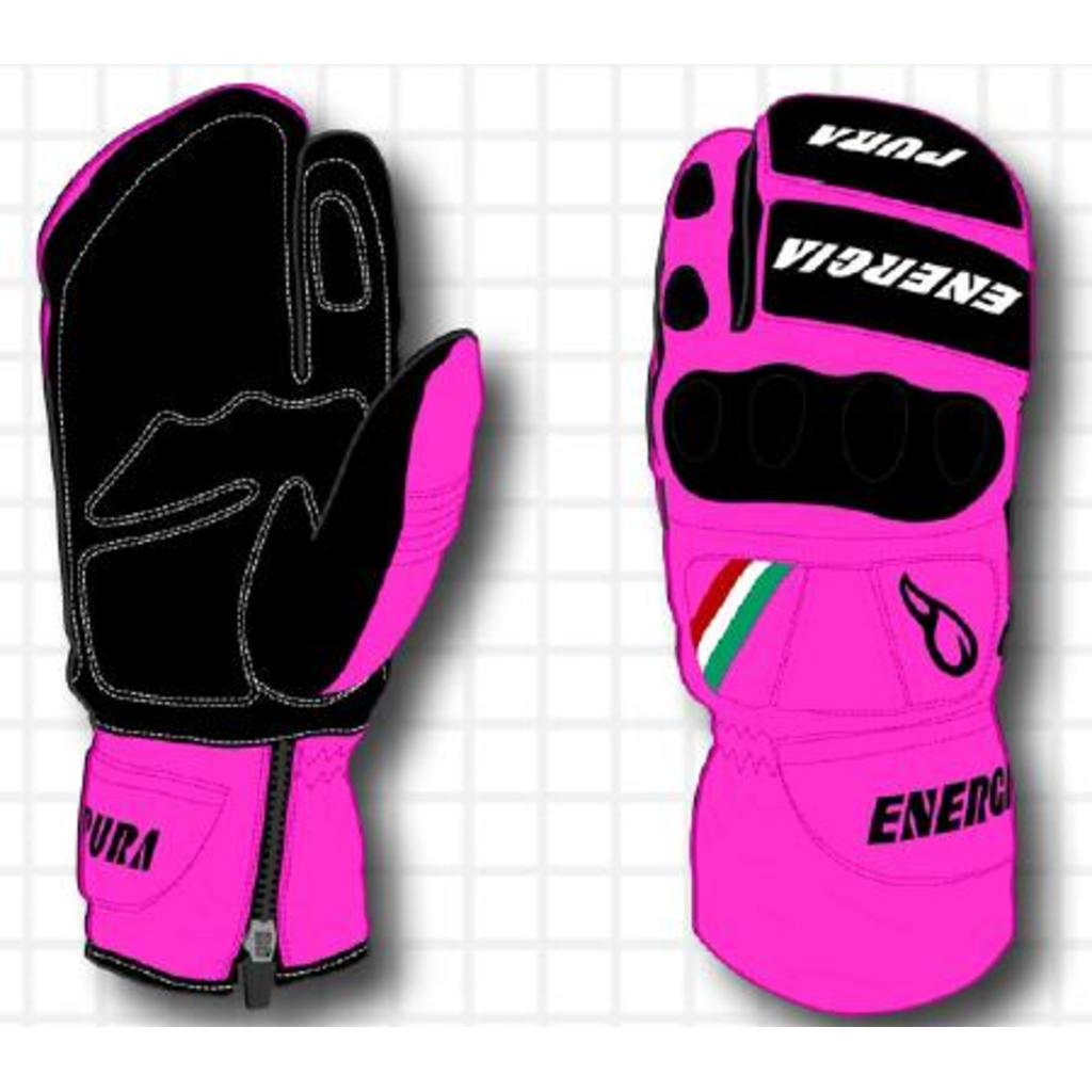 Energiapura Slalom 3 Fingers Fluo Leather Gloves W/Prot