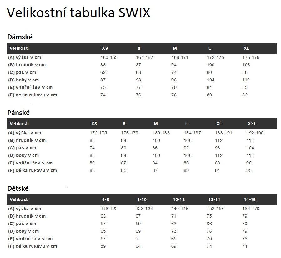 Swix - Velikostní tabulka textilu - Levné Lyže 239623dcdf